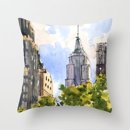Empire State Building from Bryant Park Throw Pillow