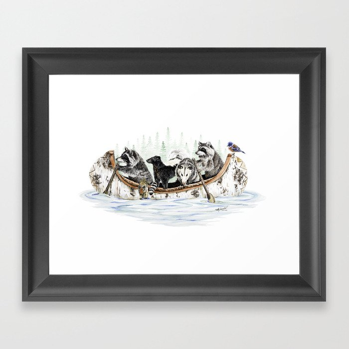 """ Critter Canoe "" wildlife rowing up river Gerahmter Kunstdruck"