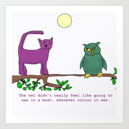 The Owl and the Purple Cat Art Print