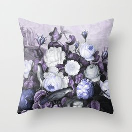 Periwinkle Roses Gray Birds Temple of Flora Throw Pillow