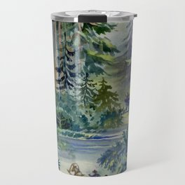 Watercolor Night Scene Travel Mug