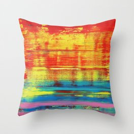 Sunny Sunset, Colorful Abstract Art Throw Pillow