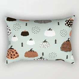 Inky Texture Pumpkins halloween illustration pattern design mint orange Rectangular Pillow