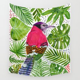 PINK BIRD PARADISE Wall Tapestry