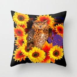 EBONY BLACK NIGHT OWL SUNFLOWERS Throw Pillow