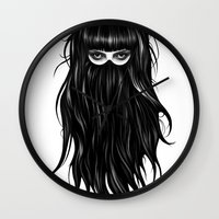 girl Wall Clocks featuring It Girl by Ruben Ireland