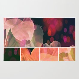 Blush and Persimmon Abstract Rose Pattern Rug