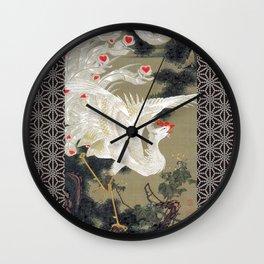 Jakuchu Phoenix with Hemp Pattern Background Wall Clock