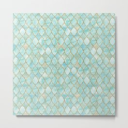 Luxury Aqua and Gold oriental pattern Metal Print