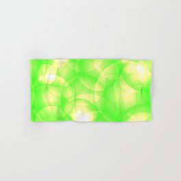 Gentle intersecting green translucent circles in pastel colors with a spring glow. Hand & Bath Towel