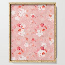 Peach pink Chinese cherry blossom Serving Tray