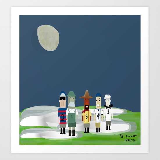 Racing Sausages Beneath a Waxing Gibbous Art Print