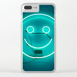 TEAL SMILE NEON SIGN Clear iPhone Case