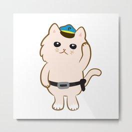 Animal Police - Cream cat Metal Print
