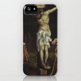 Christ on the cross between Mary and John by Matthias Grünewald iPhone Case