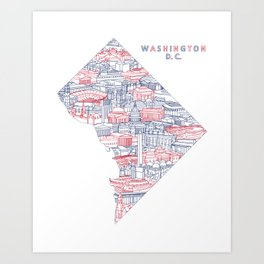 Washington DC Landmark Map Art (Nationals) Art Print