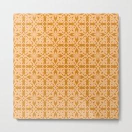 Ethnic tile pattern orange Metal Print