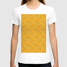 Stylish design with interlaced circles and yellow rectangles of stripes. T-shirt