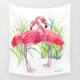 Flamingos, two flamingo birds, pink green art Wall Tapestry
