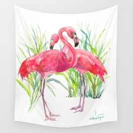 Flamingos, two flamingo birds, pink green art Wall Tapestry