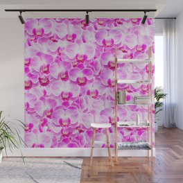 Pink Pattern Orchids Galore Wall Mural