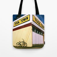 tool Tote Bags featuring Tool Town by Vorona Photography