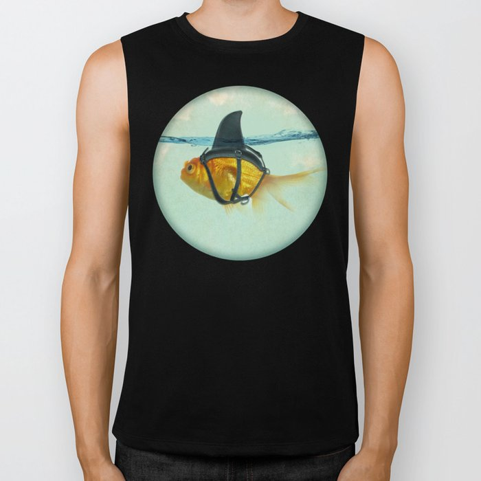 Brilliant DISGUISE - Goldfish with a Shark Fin Biker Tank by vincepezzaniti