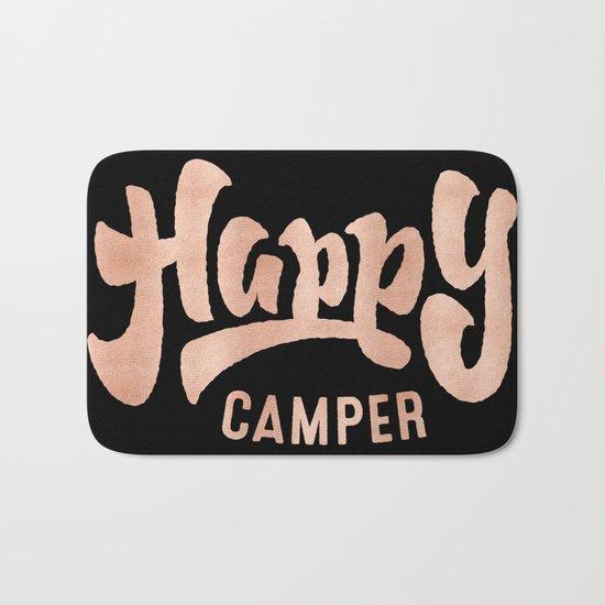 HAPPY CAMPER Rose Gold on Black Bath Mat