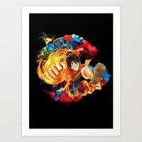 luffy Art Prints featuring Luffy Attack by feimyconcepts05