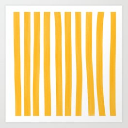 Sunny Yellow Paint Stripes Art Print