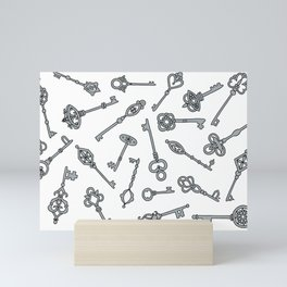 Skeleton Keys Grey Mini Art Print