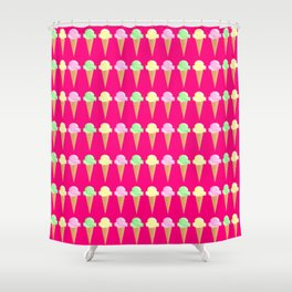 Vanilla, Mint, and Strawberry Ice Cream Cone Pattern Magenta Background Shower Curtain