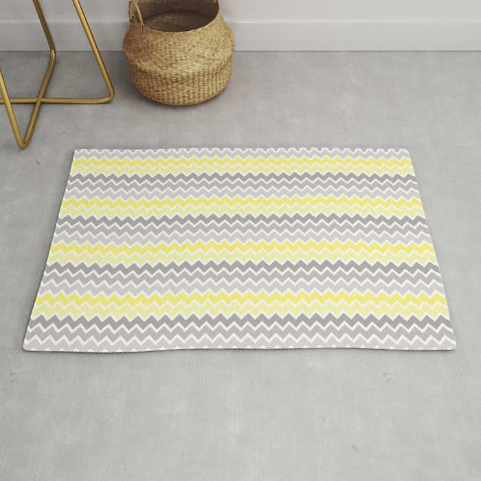 Grey Gray Yellow Ombre Chevron Rug By