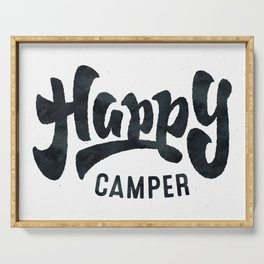 HAPPY CAMPER Black and White Retro Serving Tray