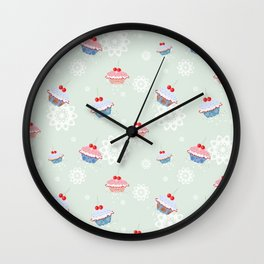 Seamless pattern with cupcakes on green background Wall Clock