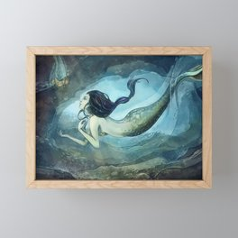 mermaid treasure Framed Mini Art Print
