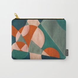 The Sunset & The Mountains Retro Abstract Art - Teal & Burnt Sienna Carry-All Pouch