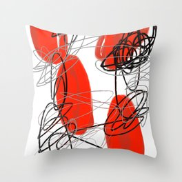 Red Dot Abstract Throw Pillow