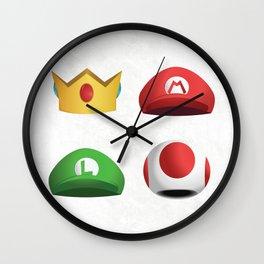 Super Mario Character Hats - White Wall Clock