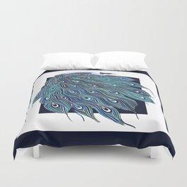 Nouveau Peacock in Blue Duvet Cover
