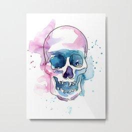 Abstract Skull Watercolor Metal Print