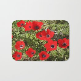 Wild Anemone Flowers In A Spring Field Bath Mat
