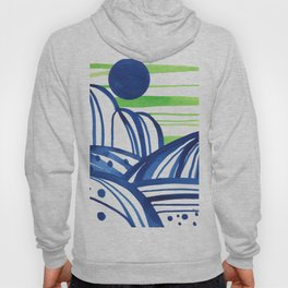 Lime and blue abstract landscape Hoody