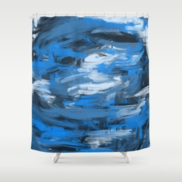 Blue & White Abstract Shower Curtain