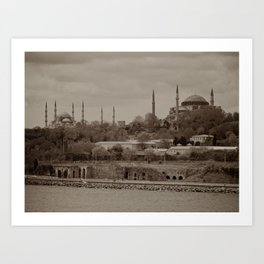 "Sultan Ahmed Mosque (""Blue Mosque"", Istanbul, TURKEY) from Bosphorus Strait Art Print"