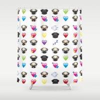 emoji Shower Curtains featuring Emoji Pug  by Huebucket
