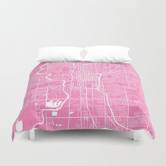 Indianapolis map pink Duvet Cover