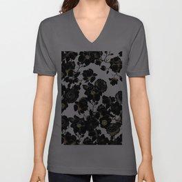 Modern Elegant Black White and Gold Floral Pattern Unisex V-Ausschnitt