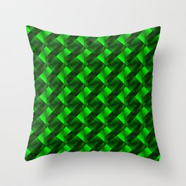 Tile of bright green squares and triangles in dark. Throw Pillow