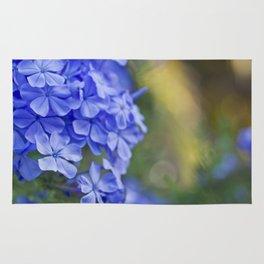 Summer garden blues - macro floral phtography Rug